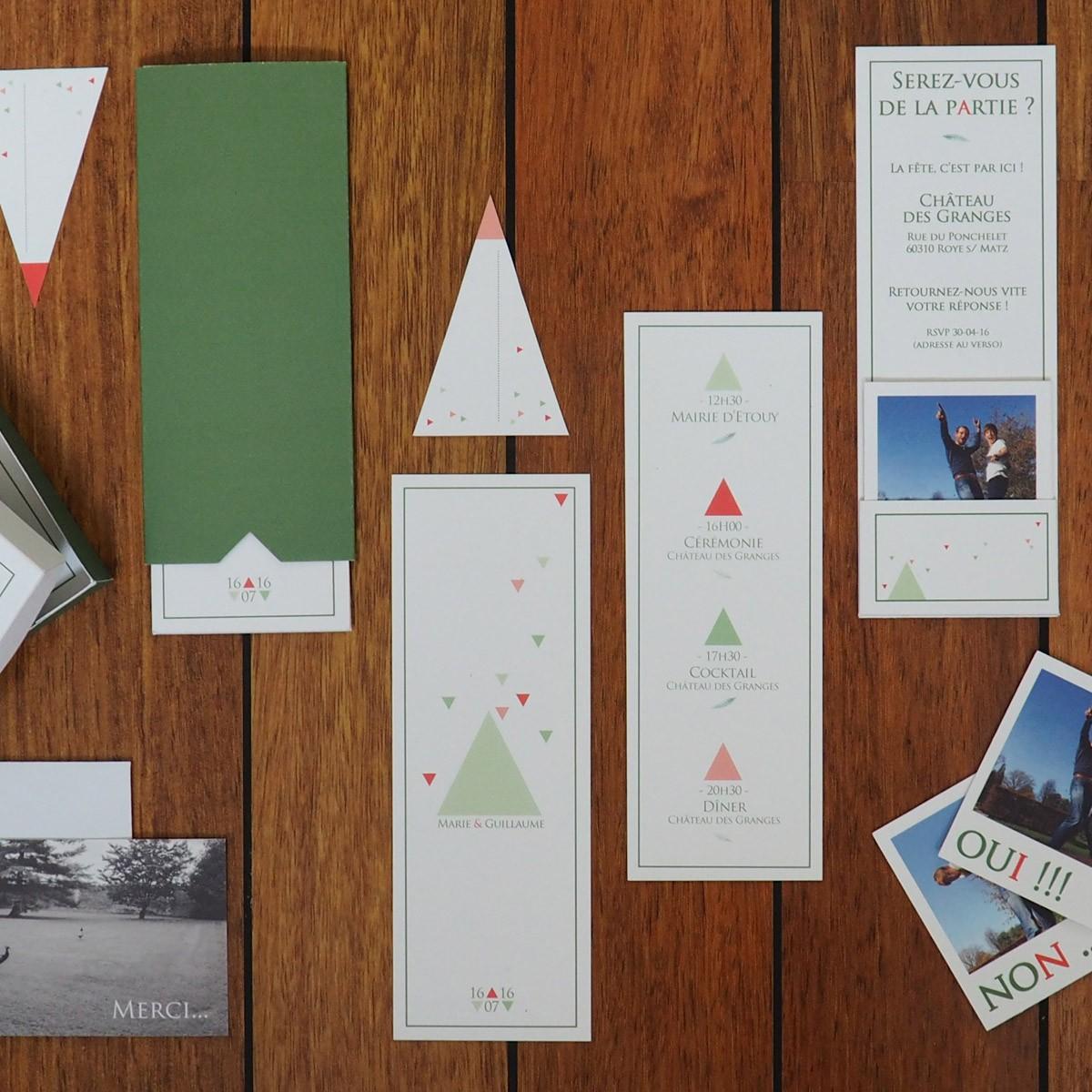 faire-part mariage personnalisée vert corail triangle graphique