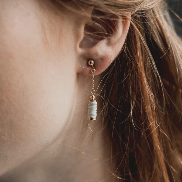 boucles d'oreille de mariée boho folk esprit plage