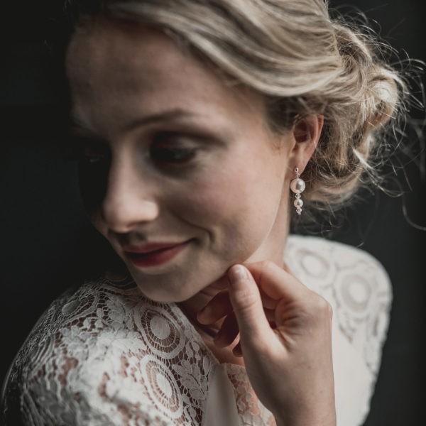 Boucles d'oreilles pour mariage en perle, strass et cristal