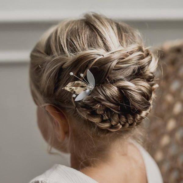 accesoire cheveux de mariage avec feuille dorée pour coiffure de mariée