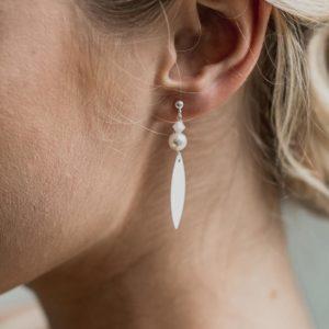 boucles d'oreilles de mariage fines et longues