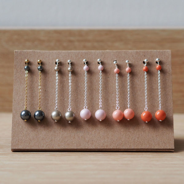 boucles longue simple perles Swarovski cadeau temoin