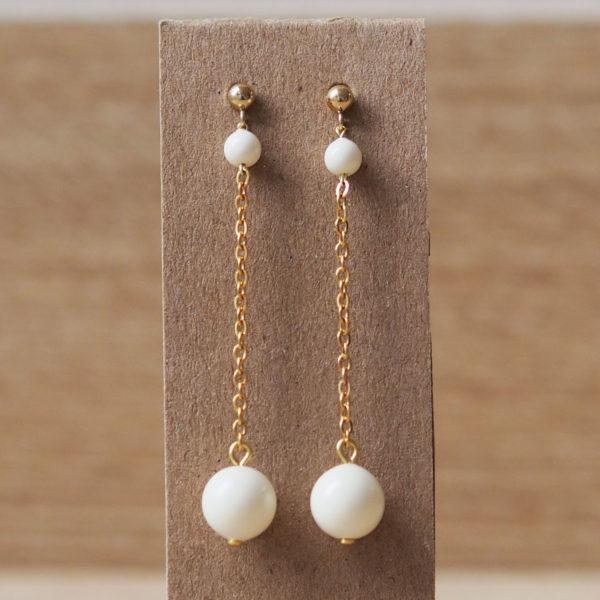boucles longue simple perles Swarovski cadeau temoin ivoire