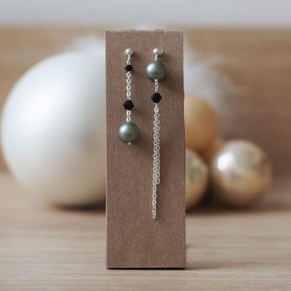 boucles soirée asymétrique dépareillé swarovski cristal noir perle verte