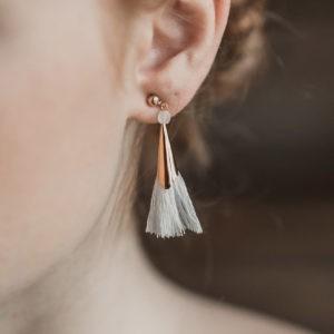 boucles d'oreille de mariée boho folk pompon