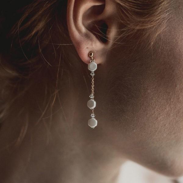 boucles d'oreilles de mariage avec des perles hexagones