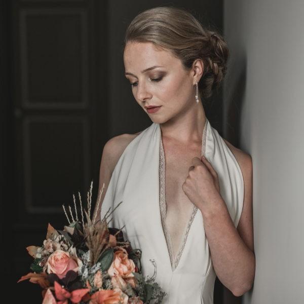 boucles d'oreilles de mariage en perle, strass et cristal