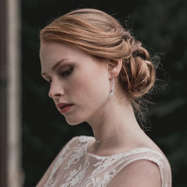 Boucles d'oreilles pour mariage, strass et cristal