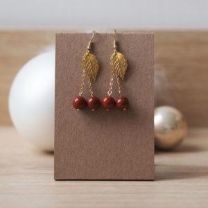 boucles fruit cerise jaspe rouge feuille dorée