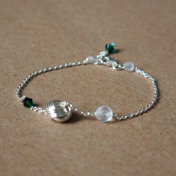 bracelet fin chaine cristal swarovski vert et blanc