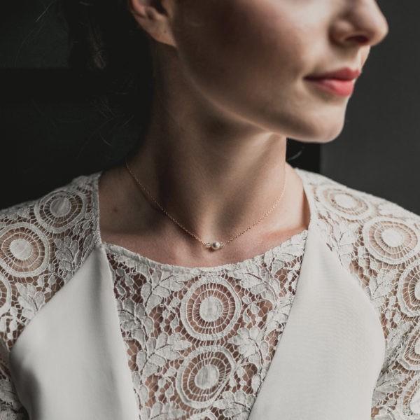 collier tour de cou de mariage avec perle, strass et cristal
