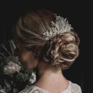 peigne de mariage en fleurs sechées et perles